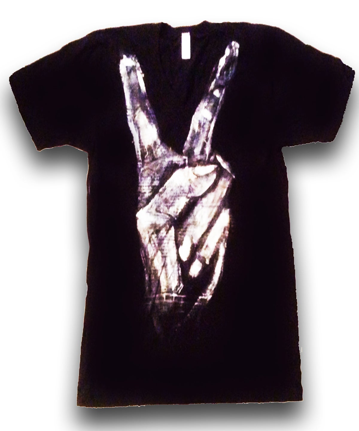 Image of PEACE V-Neck Tee (HandPainted by MissFitNYC)