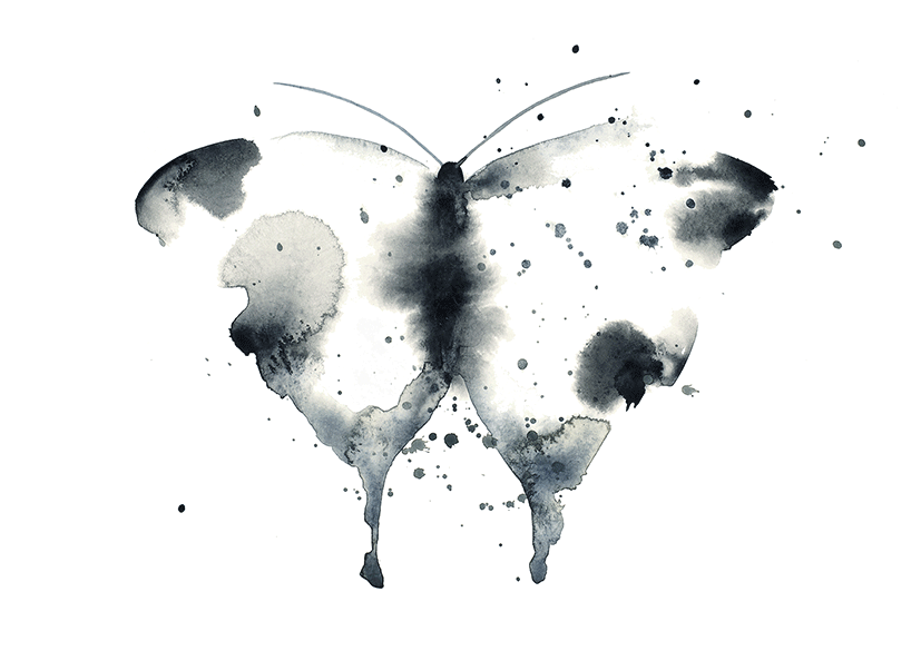 Image of Butterfly Black/White