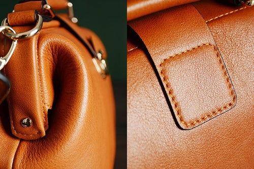 Image of Custom Handmade Vegetable Tanned Leather Satchel Bag, Doctor Bag, Messenger Shoulder Bag D015