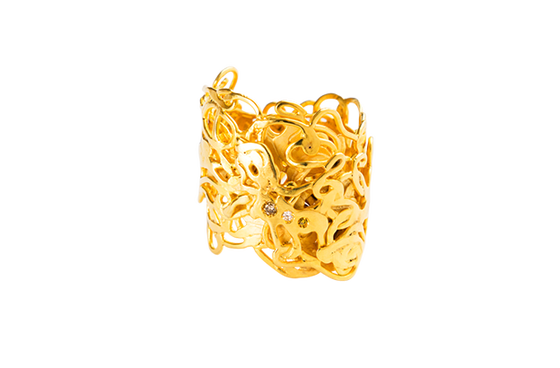 Image of Promenade, Ring in Fairmined gold 18k with 3 diamonds