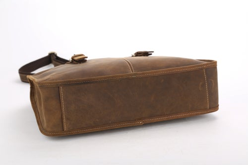 Image of Handcrafted Antique Leather Laptop Briefcase Mens Messenger Shoulder Bag 3857