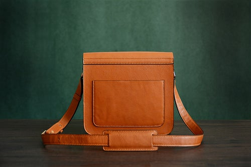 Image of Custom Handmade Italian Vegetable Tanned Leather Satchel, Messenger Bag, Shoulder Bag, Men Bag D003