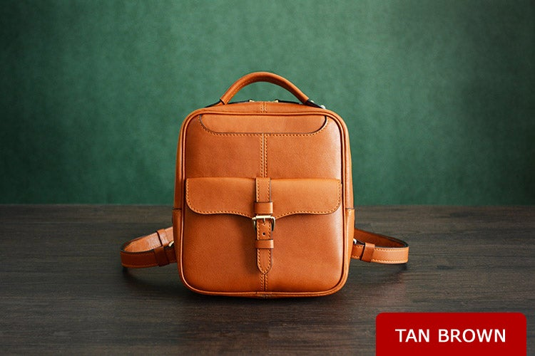 Image of Custom Handmade Vegetable Tanned Leather Backpack, Shoulder Bag, Satchel Bag D005