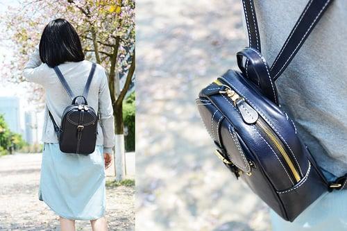 Image of Custom Handmade Vegetable Tanned Brown Leather Backpack, Shoulder Bag, Satchel Bag D009