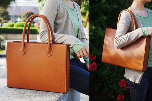Image of Custom Handmade Italian Vegetable Tanned Leather Tote, Shoulder Bag, Lady Handbag D010