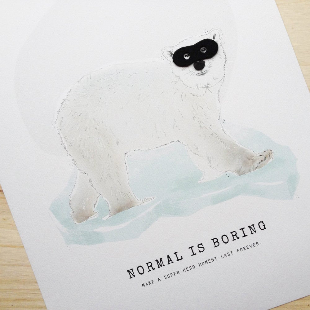 "Image of ART PRINT | POLAR BEAR ""NORMAL IS BORING"""