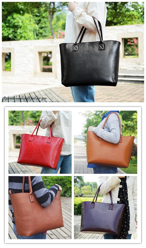 Image of Custom Handmade Italian Vegetable Tanned Leather Tote Bag, Shoulder Bag, Lady Handbag D013
