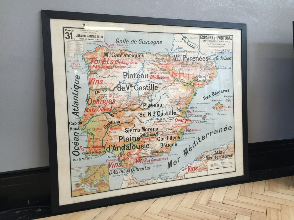 Image of 1960S AGRICULTURAL / ECONOMIC MAP OF SPAIN & PORTUGAL - framed