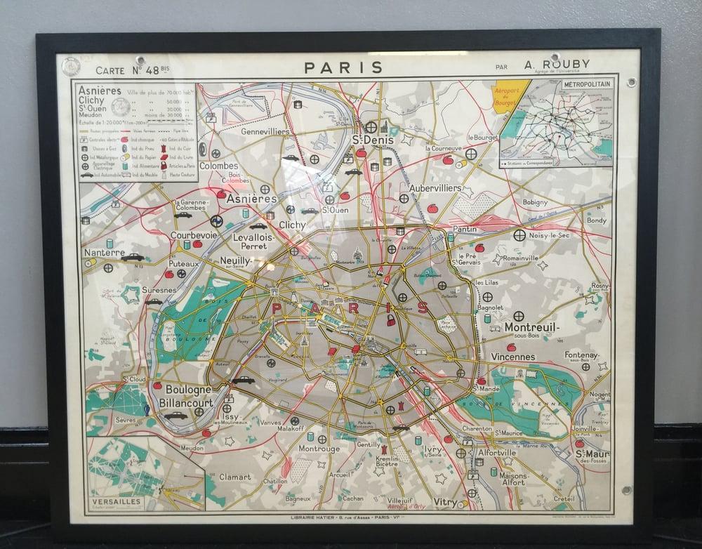 Image of 1950s Map of Paris