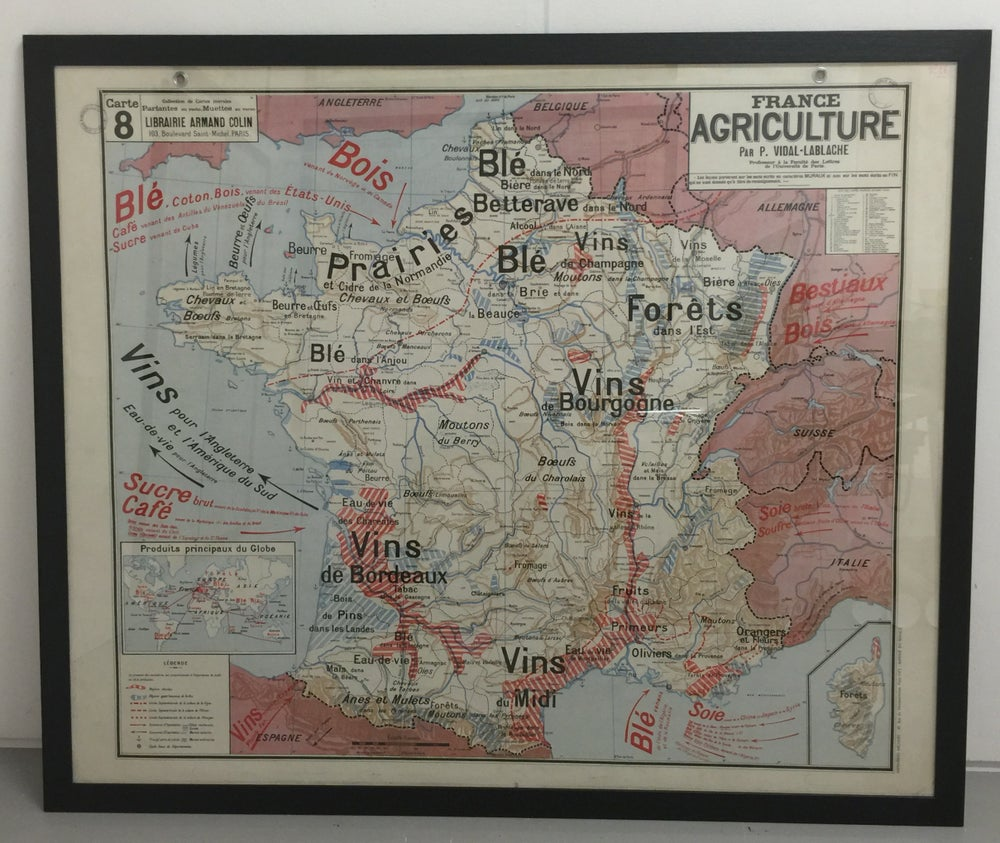 Image of 1960s Agricultural Map of France - framed