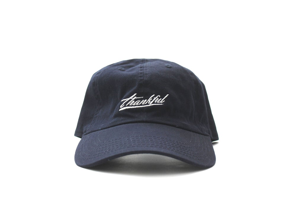 Image of low profile THANKFUL SIGNATURE HAT (navy blue)