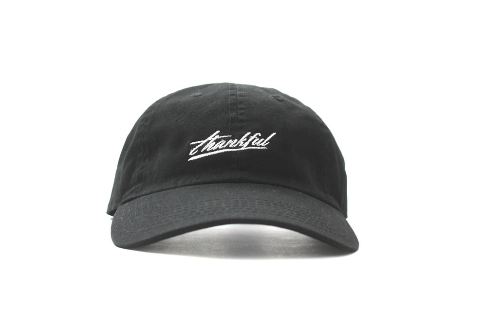 Image of low profile THANKFUL SIGNATURE HAT (BLACK)