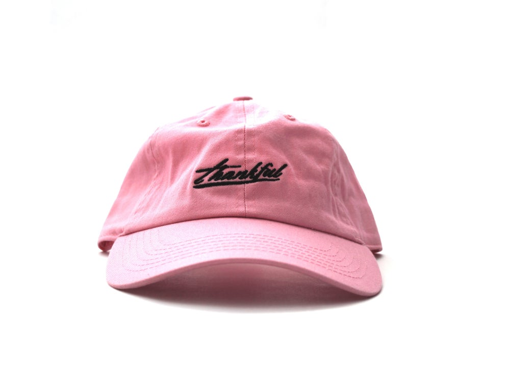 Image of low profile THANKFUL SIGNATURE HAT (pink)