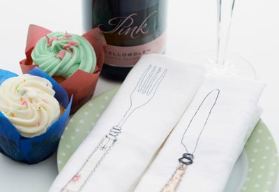Image of Cutlery or Champagne Themed Napkins