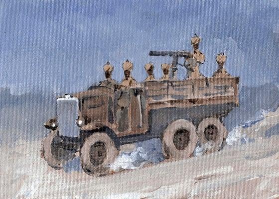 Image of Sudan Defence Force 1930 Morris 15.9 hp 30 cwt truck and machine gun