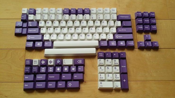 Image of JT Keycap Royal Purple/White Keyset
