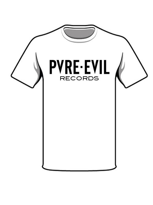 Image of PVRE EVIL RECORDS TSHIRT WHITE