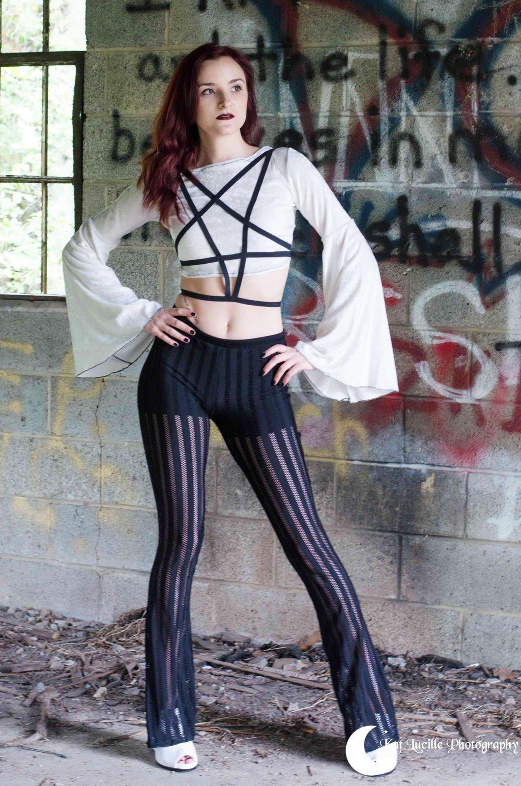 Black Fishnet Stripe Flare Legging Pant Caitlyn Katelier