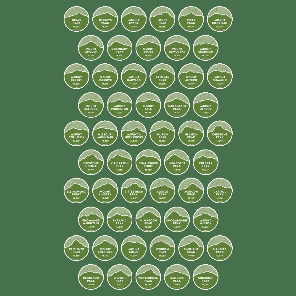 Image of ALL 55 Colorado 14er Peak Stickers