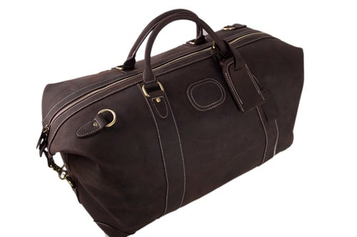 Image of Handmade Vintage Genuine Cowhide Leather Travel Bag, Duffle Bag, Weekender Bag DZ07