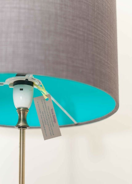 ... Image Of Handmade Classic Grey Textured Look Print Lampshade With  Contrasting Juicy Teal Lining ...