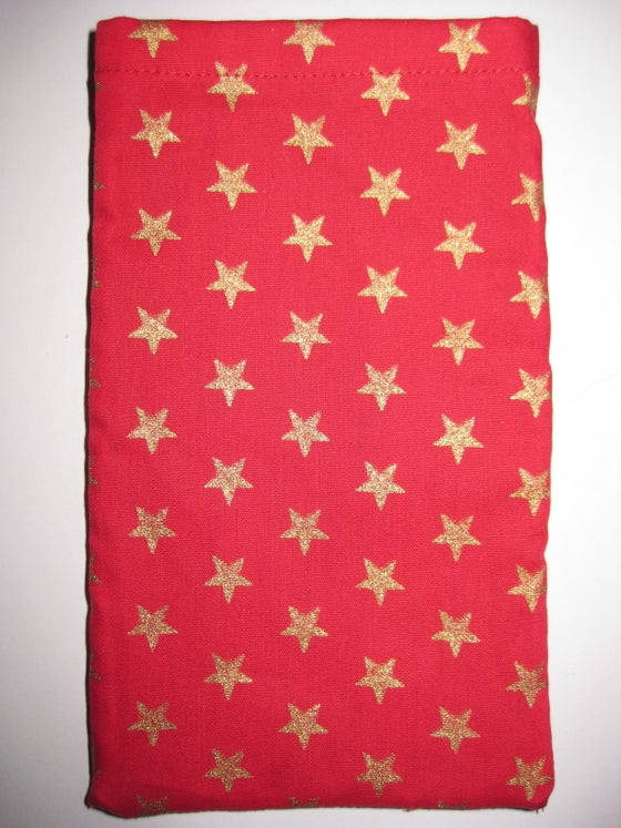 Image of Red with golden stars - protective phone pouch