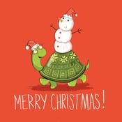 Image of Turtle Christmas card (single card)