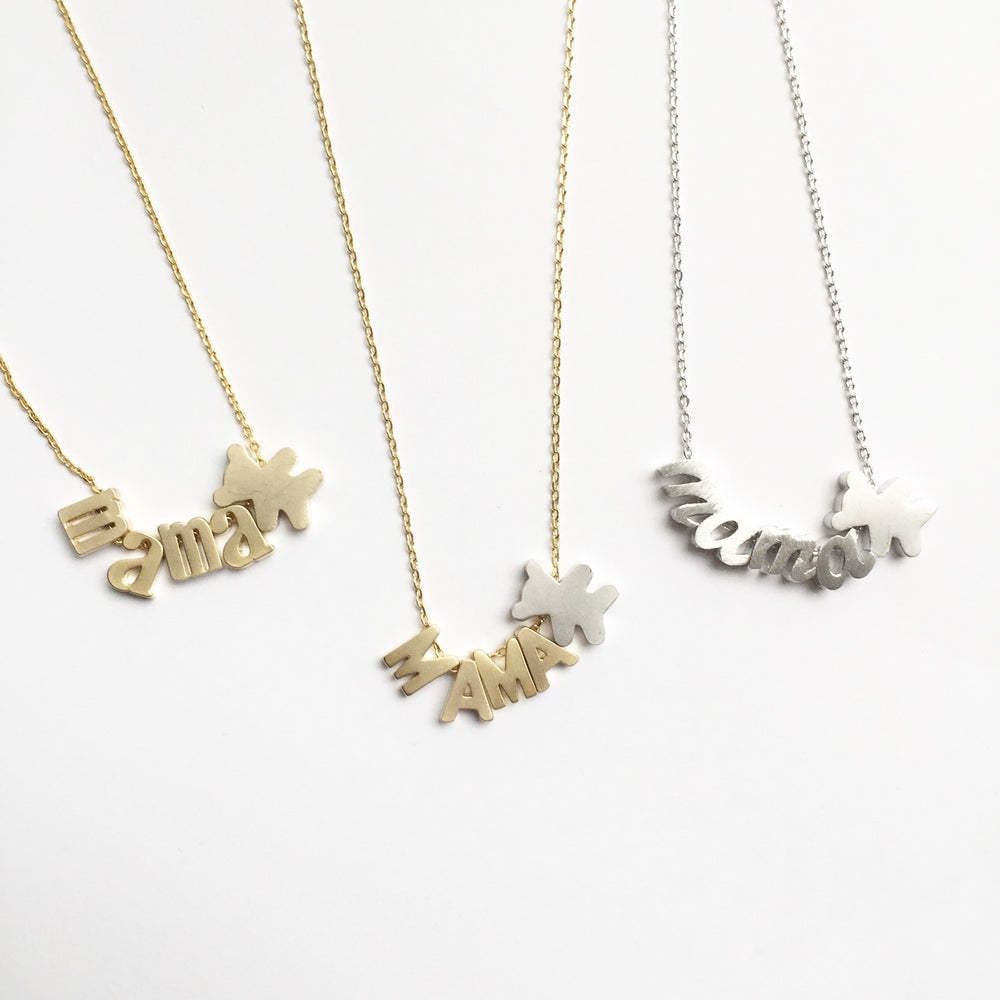 mama necklace silver bear