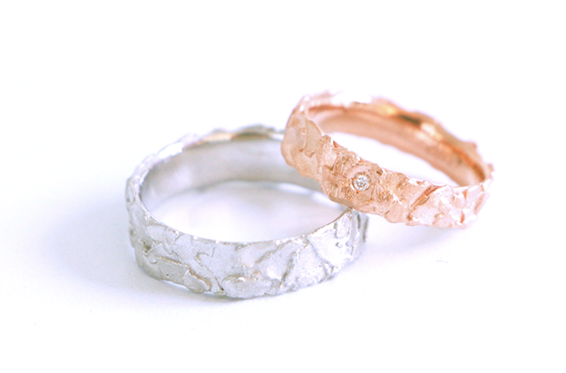 Image of Dans la roche, Wedding rings set in rose and white gold with diamond