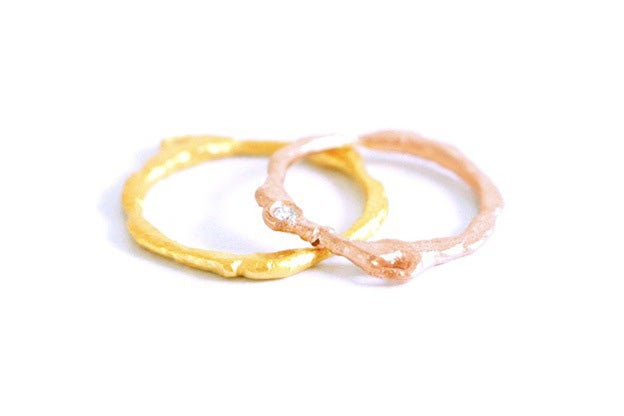 Image of Lava, Wedding rings set in rose and yellow gold 18k with a white diamond