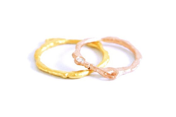 Image of Basalte, Wedding rings set in Fairmined red and yellow gold 18k with diamond