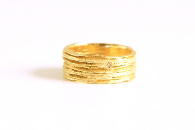 Image of Sentiers, Ring in gold 18k with a champagne diamond