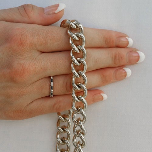 "Image of NICKEL Chain Luxury Strap - Large Classy Curb Chain - 7/16"" (12mm) Wide - Choose Length & Hook Style"