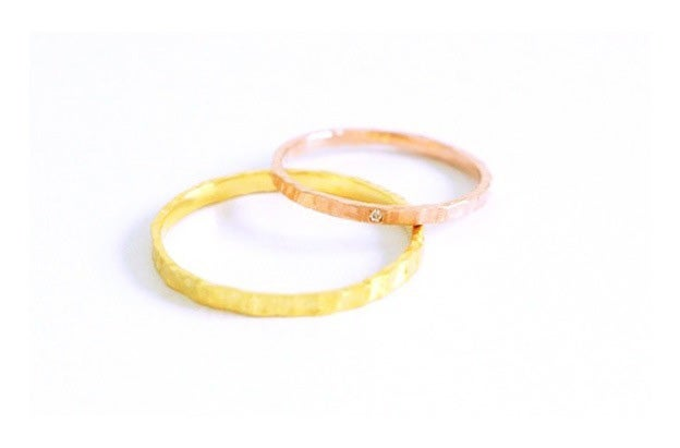 Image of Minka , Wedding rings set in Fairmined yellow and red gold 18k and white diamond