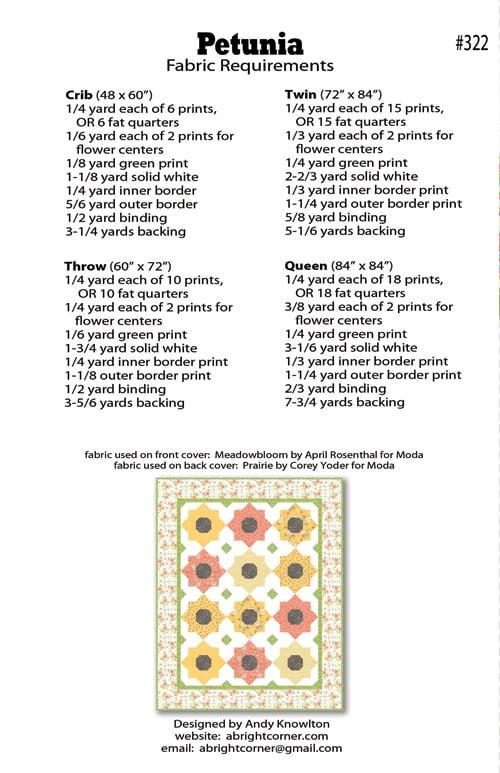 Petunia Quilt Pattern Pdf Version A Bright Corner