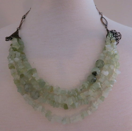 Image of 4-Layered Prehnite Chip & Bronze Metal Necklace
