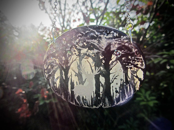 Image of Winter Stag Large Oval Resin Pendant