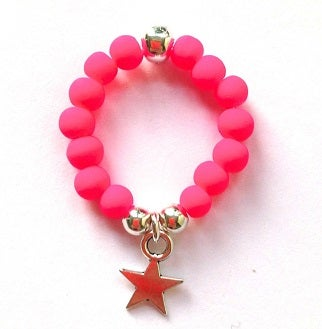 Image of Kool Jewels Pink Stackable Charm Ring - Star