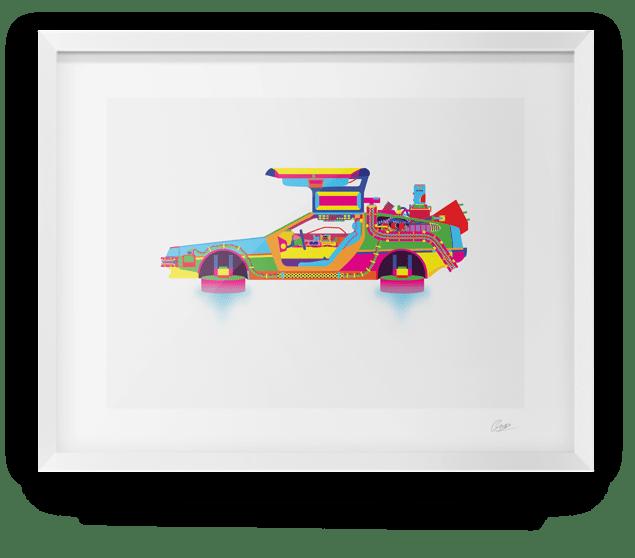Image of Back to The Future DeLorean Print Alt