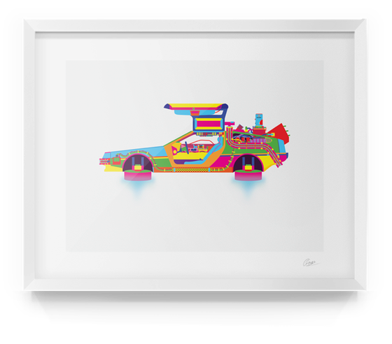 Image of Back to The Future DeLorean Print Alt
