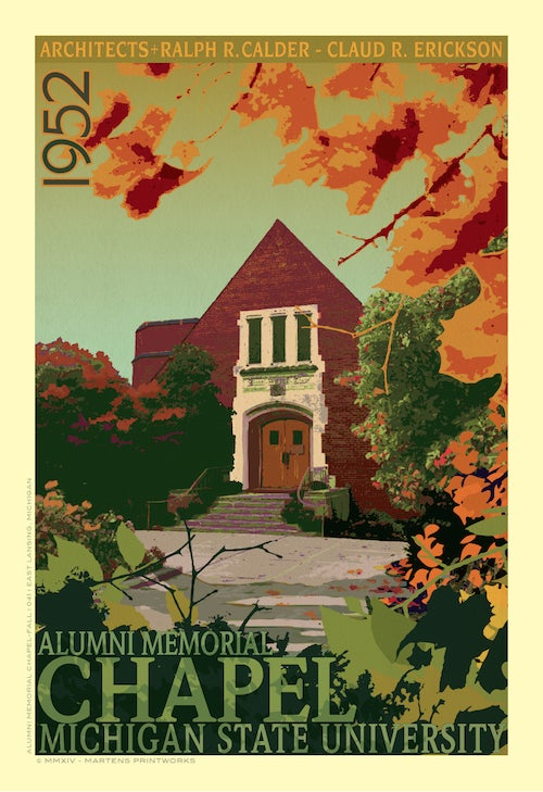 Image of MSU Alumni Chapel Fall Limited Edition 13x19 Print No. [042]