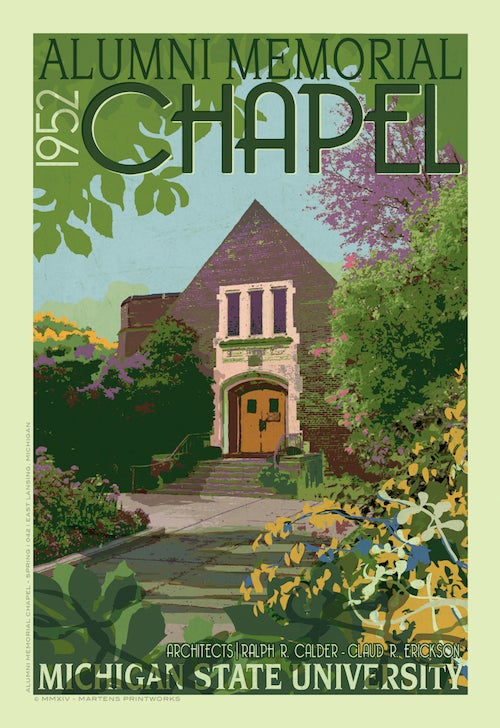 Image of MSU Alumni Chapel Spring Limited Edition 13x19 Print No. [041]