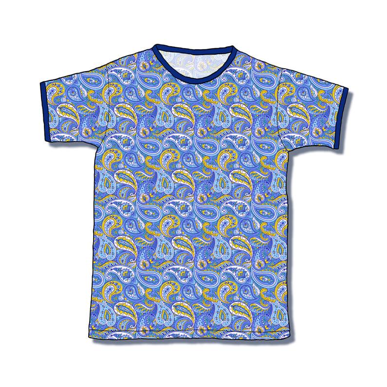 Image of T-Shirt Vest, Blue Paisley main, Royal Blue trim