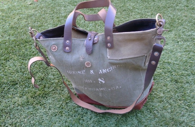 Image of VINTAGE MILITARY CANVAS AND LEATHER BUCKET TOTE BAG #4