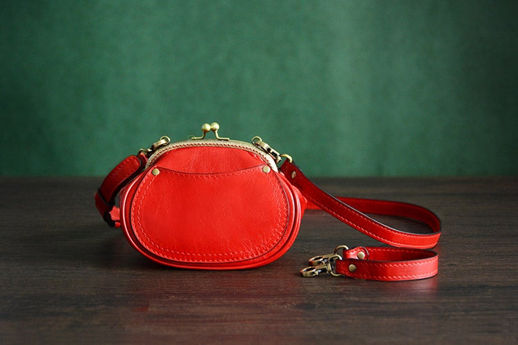 Image of Custom Handmade Italian Tanned Leather Satchel Messenger Shoulder Bag Women Mini Bag D033