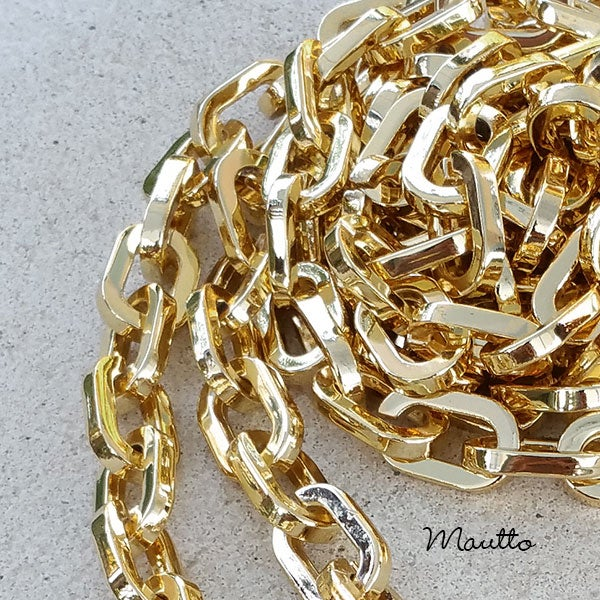 "Image of GOLD Chain Strap - Elongated Box Chain - 3/8"" (10mm) Wide - Your Choice of Length & Hooks"
