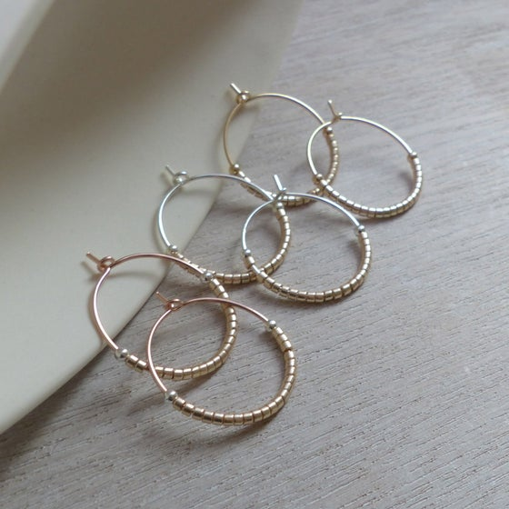 Image of Delica Bead Hoops 20mm in Champagne, Gun Metal Grey or Pearly Grey