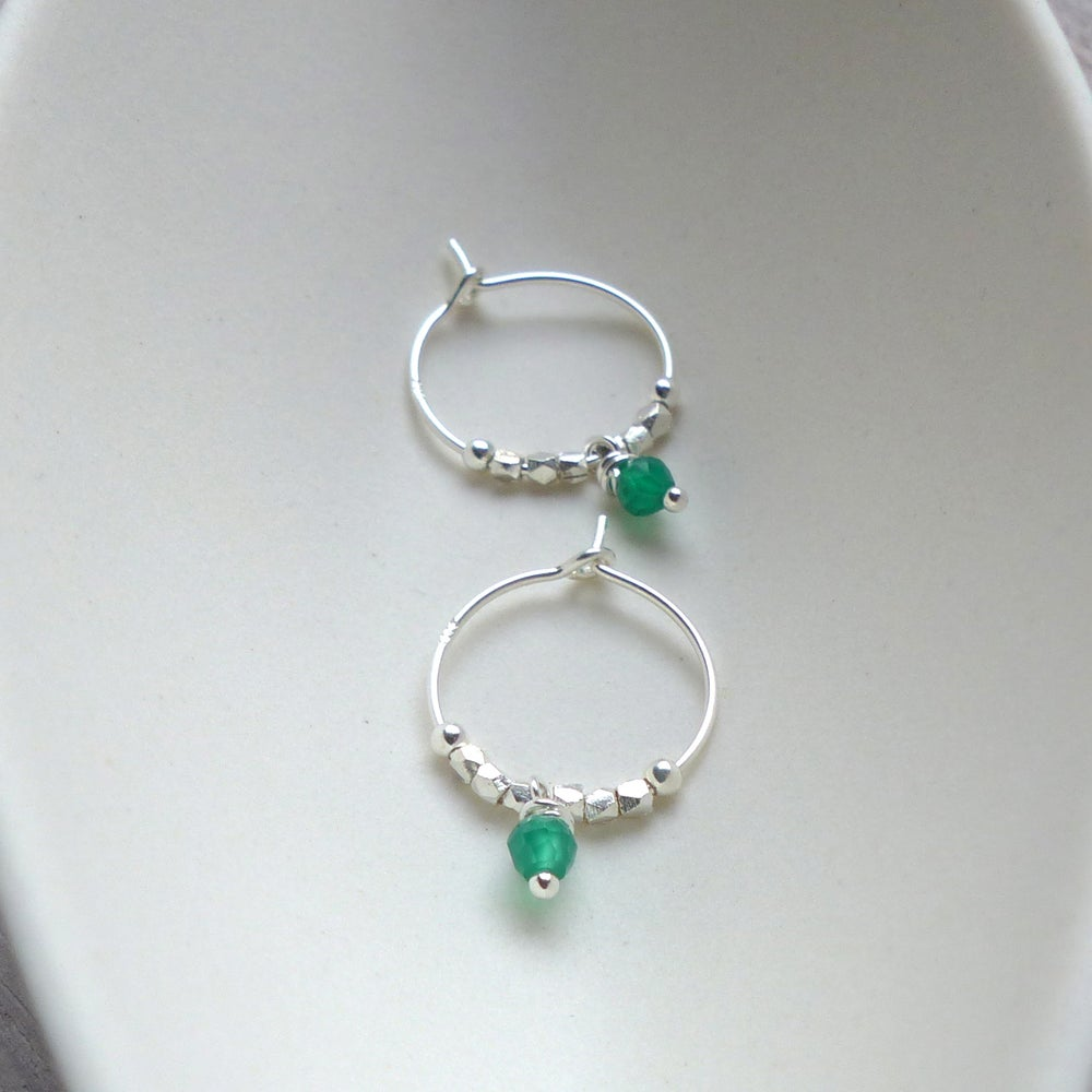 Image of Green Onyx And Fair Trade Bead Hoops