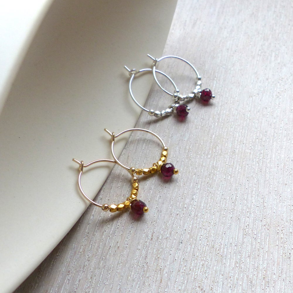 Image of Red Faceted Garnet And Fair Trade Hoops