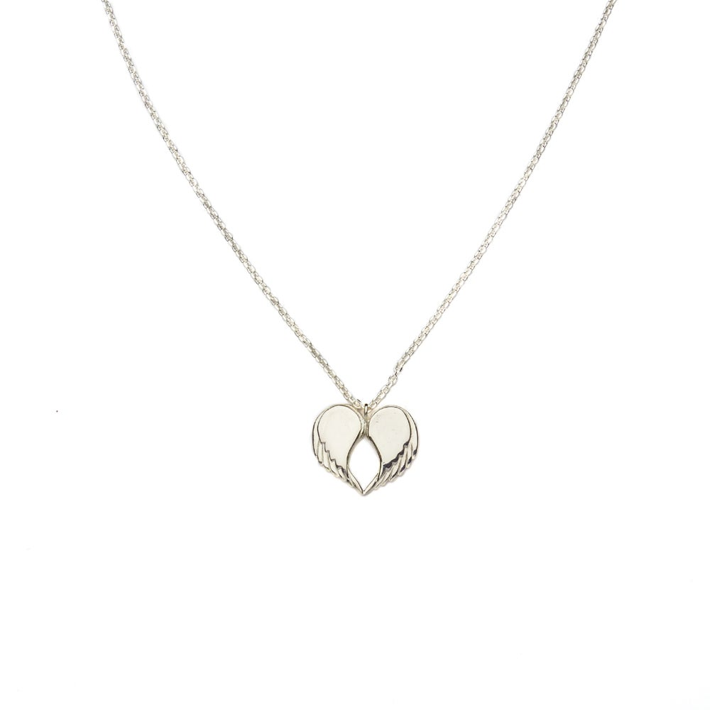 """Image of Angel Love Pendant - SHORT Solid Silver 18"""" Chain"""